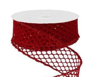 Wired Ribbon - Ribbon - Red Glitter Ribbon - Netted Ribbon - Wreath - Floral Ribbon - Christmas Ribbon - RG1286