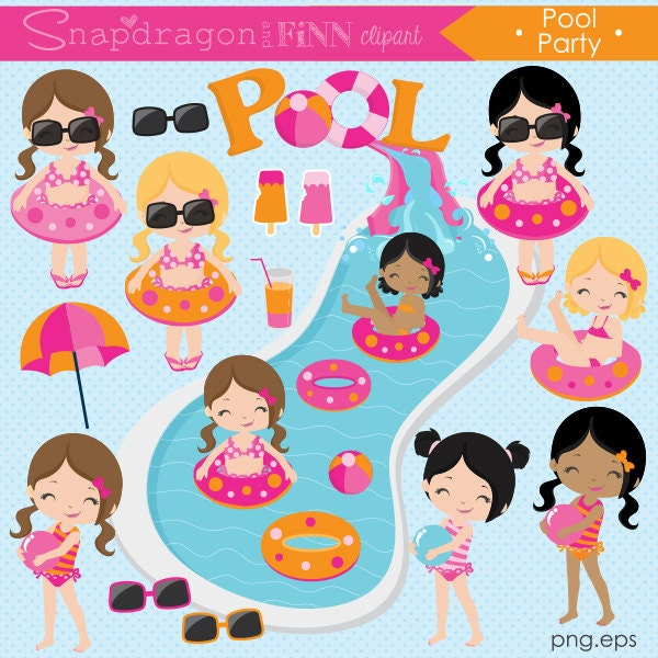 Inflatable Slide Clip Art: Pool Party Clipart Summer Clipart Pool Girl Clipart