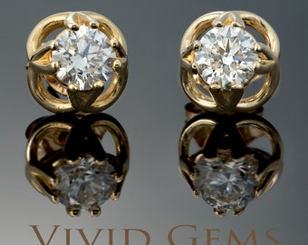 Diamond Solitaire Earrings in Solid Yellow Gold
