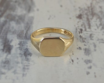 Special order - Large gold signet ring - 9ct yellow signet ring - Mens signet ring - Rectangle signet ring - British vintage jewellery