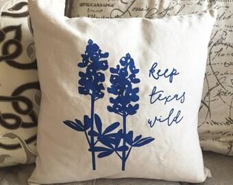 Texas Bluebonnet Wildflower Screen Printed Pillow