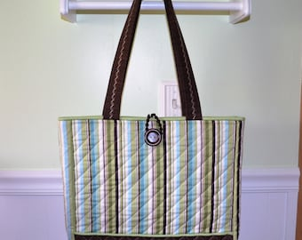 Green Stripe Tote Bag