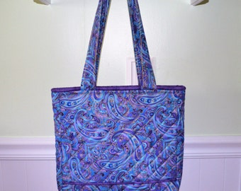 Small Purple/Blue Paisley Tote