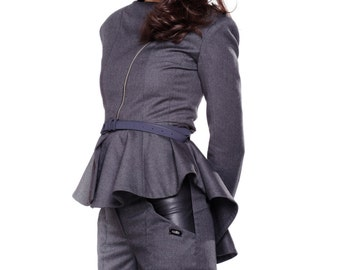 Women Jacket, Gray Blazer Jacket, Elegant Blazer, Summer Jacket, Zipped Jacket, Flared Jacket, Chic Blazer, Tuxedo Jacket, Elegant Coat