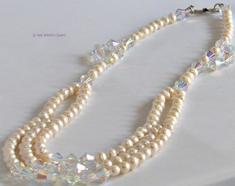 Freshwater Pearl Necklace with Swarovski Crystal | Vintage Style | Multi-strand Pearl Necklace | Bridal Jewellery UK | A0458