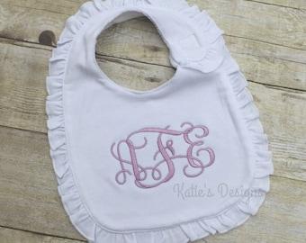 Monogrammed White Ruffle Bib - Personalized Bib for Baby Girl, Baby Bib, Baby Shower Gift for girls, Baby, Custom bib, New baby