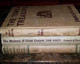 Mystery books, set of 3, vintage, Hardy Boys