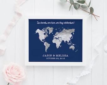 Wedding Map Guest Book Map, Navy Wedding Guest Book Alternative, Guest Book Poster, Destination Wedding Guest Book
