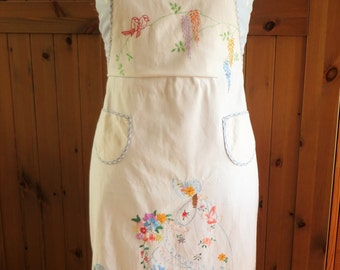 Hand embroidered apron from the 1930s