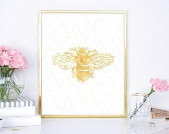 Save the Bees 8x10 print, 16x20 poster - Honeybee print, Bumblebee print, Preppy Wall Art Decor, modern wall art, gold bee print, Honeycomb