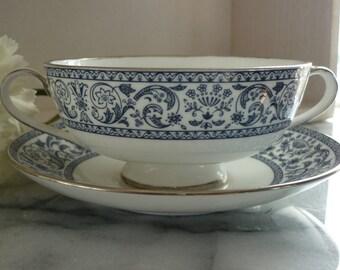 Minton Infanta Porcelain c1960s Soup Dish and Saucer x2