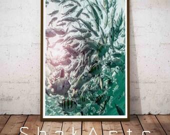 School Fish Print, Fish Decor, Beach Coastal Art, Coastal Wall Art, Beach House Decor, Seascape, Abstract Beach Print, Abstract Art, Fish