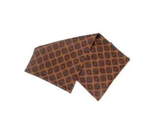Vintage 80s Scarf - Silk Scarf - Mens Scarf - Brown Blue Red - Ralph Lauren - Opera Scarf - Ascot - Silk Foulard Scarf - Polo Ralph Lauren