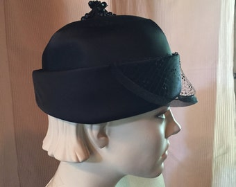 Black Satin 1960's Vintage Pill Box Hat- Maurice L. Rothchild Original