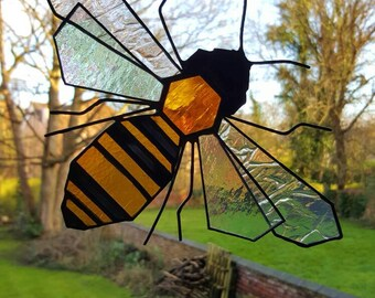 Bee, Stained Glass, Suncatcher, Honey Bee, Beekeeper Gift, Manchester Bee, Bumble Bee, Honeycomb, Nature Lover, Tiffany, Window Art