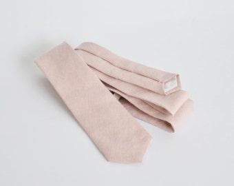 Light pale pink linen skinny tie, mens neck tie, linen tie, wedding tie, groomsmen tie, wedding tie, pale pink tie, boyfriend gift