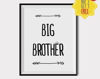 Big brother little brother set, Big brother poster, Printable big brother, Baby room art, Nursery Quote, Nursery Print, kids room wall art