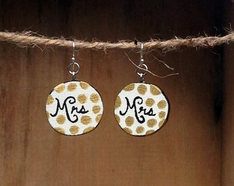 Mrs, Wooden Earrings, Mrs Earrings, Wood Earrings, Honeymoon, Wooden Mrs, Wedding earrings, Polka dots, Wedding gift, Handmade earrings
