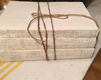French Country, Uncovered Books, White Books, White Unbound Books, Shabby Chic, Wedding Decorations,Distressed Books, Book Lover Gift