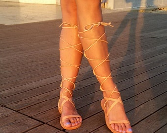 Gladiator Leather Sandals, Tie Up Gladiator Boots ''Eve'', Knee High Lace up Sandals