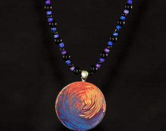 Screaming Trees Pendant  - Hand painted beaded pendant