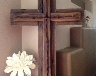 "Rustic Wooden Wall Cross Decorative Cross Reclaimed Wood Barbed Wire Home Decor Wall Hanging  23 1/2"" x 16"""