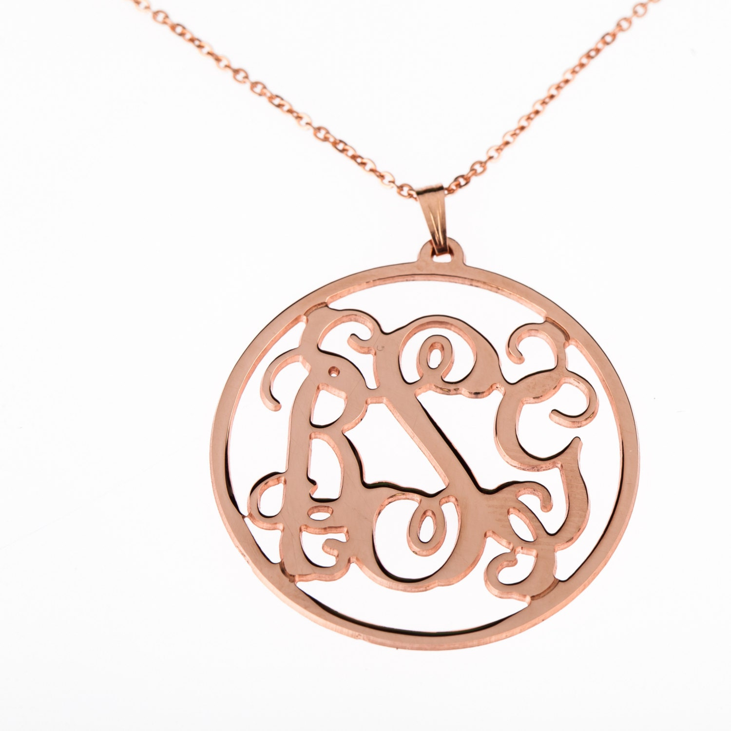 Monogram necklace rose gold round monogram personalized for Rose gold personalized jewelry