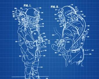 Diving Suit Patent - Patent Print, Wall Decor, Diver Gift, Scuba Gift, Scuba Diver, Deep Sea Diver, Nautical Decor, Beach House Decor