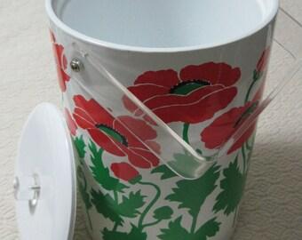 ICE Bucket, Red Poppies Design, Vintage