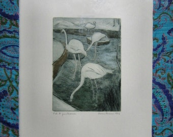 PICTURE 13 x 17 cm Incision Herons (etching and dry point) with silk mat Prova d'Autore
