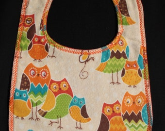 owls flannel bib pearl snap fastener baby gift baby shower gift mealtime essentials baby layette