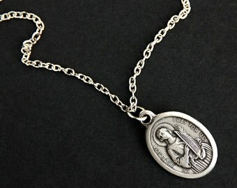 Saint Cecilia Necklace. Catholic Saint Necklace. St Cecilia Medal Necklace. Patron Saint Necklace. Christian Jewelry. Religious Necklace.