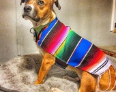 Dog Clothes - Handmade Dog Apparel From Authentic Mexican Blanket. Premium Quality Dog Poncho with Fringed Edge by Baja Ponchos