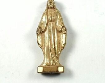 Virgin Mary Pocket Shrine Gold Tone Metal