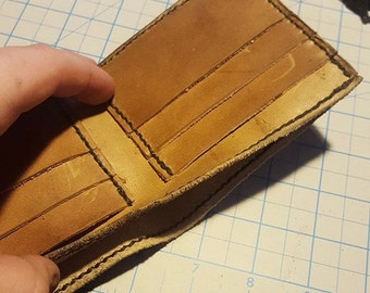 Rustic/Rugged 6 pocket, Bi-fold leather wallet.