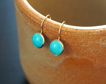 Gold Turquoise Earrings - 14K Gold Earrings - 14K Gold Drop earrings - Solid Gold Earrings - Turquoise Jewelry - Turquoise Drop Earrings
