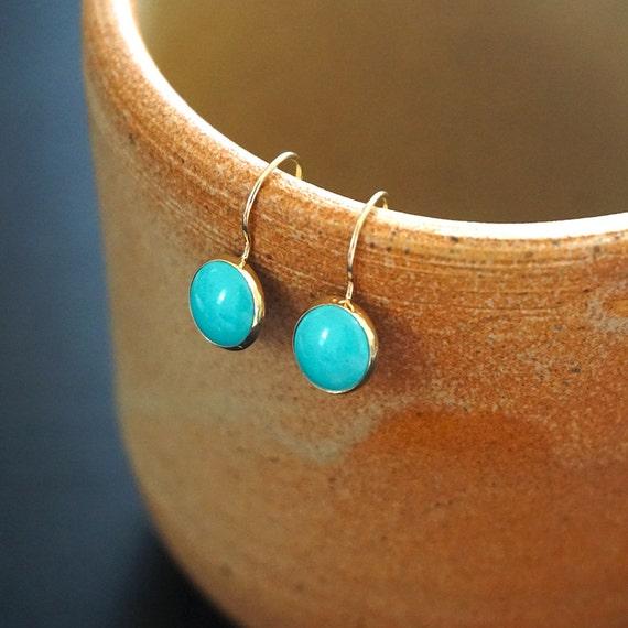 gold turquoise earrings 14k gold earrings 14k gold drop. Black Bedroom Furniture Sets. Home Design Ideas