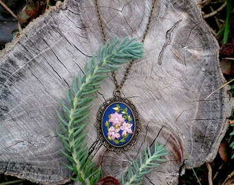 Gift|for|her Something blue necklace flower jewelry gift|for|mom Embroidered necklace Floral jewelry gifts|for|women gift Nature necklace