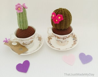7. Crochet Ball Cactus with pink flowers