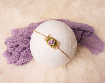 Newborn Headband, Newborn Tieback, Burlap Tieback, Flower Tieback, Baby Headband