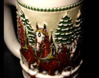 Budweiser Limited Edition Holiday Stein Ceramarte Handmade Christmas Vintage Horse
