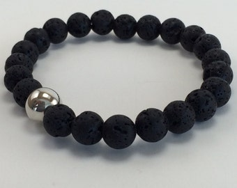 aromatherapy lava bead elastic bracelet with single sterling silver bead