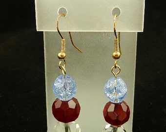4th of July red, white and blue drop earrings