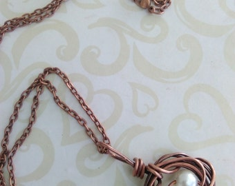 Copper birdnest necklace