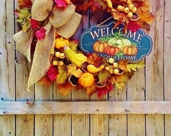 Deluxe Fall Welcome Front Door Wreath by Sweet Lily's Garden, Fall Pumpkin Gourd Wreath, Thanksgiving Wreaths, Fall Floral Wreath   W210