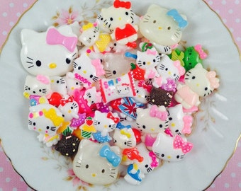Hello Kitty Cabochon Assorted Mix Kawaii Grab Bag Flatback  Scrapbook Decoden Lot Resin Clay Craft DIY