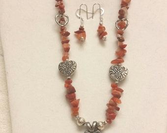Peach aventurine necklace set