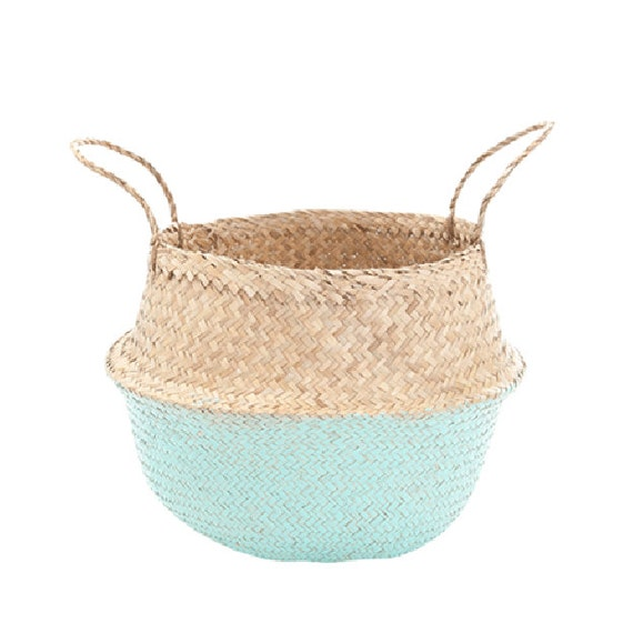 Handmade Seagrass Baskets : Mint dipped handmade seagrass belly basket great by