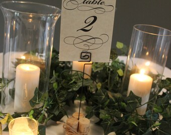 Set of 4 Cork Table Number Holders - Cylinder Style