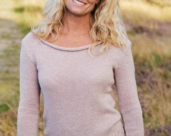Smock knit boat neck pullover sweater PDF knitting pattern/women's wool jumper knit pattern/Ladies knit jumper pattern/knit sweater pattern